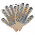 Перчатки 5ти-нитка х/б с ПВХ 10 класс (точка) белые 10/200