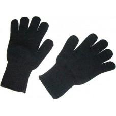 Перчатки зимние вязаные двойные черные